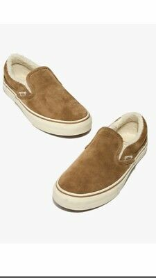 Madewell x Vans Unisex Slip-On Sneakers in Suede and Sherpa Size 5.5 (Women's 7)