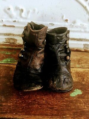 Antique VICTORIAN Black LEATHER Baby Child Doll High-Button BOOT SHOES