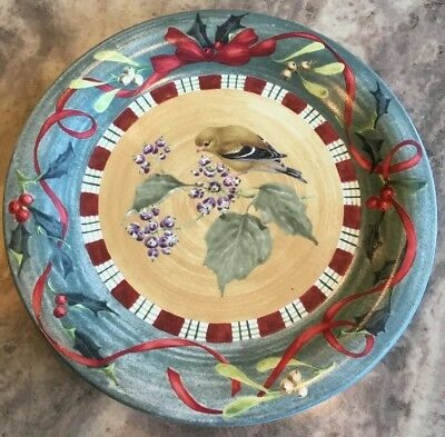 """1 Mint Never Used Lenox Winter Greetings Everyday GOLDFINCH Dinner Plate 10 3/4"""""""