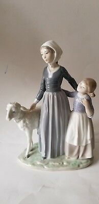 Lladro Figurine Mother with Child & Lamb