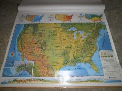Nystrom Triple Pull Down World/u.s.a. Map California Home School Markable Custom