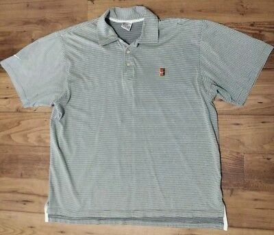 adc36b2b Pete Sampras Heritage Tennis Court Logo STRIPED Golf Polo Nike Shirt MENS  Size L