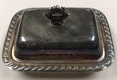 Vintage 1940s Canterbury Silver Plate Covered Ornate Butter Dish