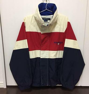 Vintage Nautica North Island Jacket Men Coat 90's Rare Small Red Navy Blue Ivory