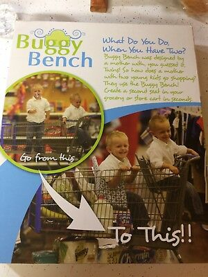 NEW Baby Shower TWINS Gift - Buggy Bench Shopping Grocery Cart EXTRA Seat GREEN