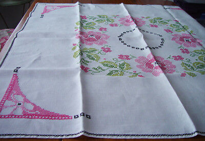 """Lovely Vintage White Linen Tablecloth Pink & Green Cross Stitch 50"""" x 50""""  #122"""