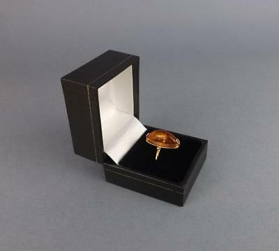 Soviet Russian Gold 583 grade Figural Ring with Baltic Amber, 583 mark.