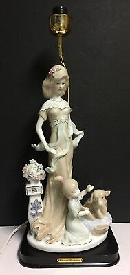 """LLADRE(?) Elegant Collection Lamp~Lady in Evening Gown w/Child Washing Dog~16"""""""