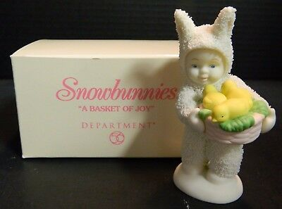"Snowbunnies Collectible Figurine ""Basket Of Joy"" Department 56 In Original Box"