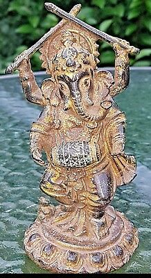 FINE QUALITY ORIENTAL 19th CAST BRONZE GANESH HINDU GOD DEITY FIGURE GOLD FINISH