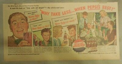 Pepsi-Cola Ad: Bill Bendix The Life of Riley! from 1940's  7.5 x 15 inches