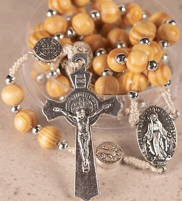 Rosary Wooden Beads St Benedict Crucifix and Miraculous Medal 3-in-1 devotion