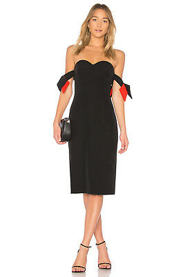 568a1c88a590 NEW MILLY Black Red Brie Off the Shoulder Italian Cady Sweetheart Midi Dress  6 S