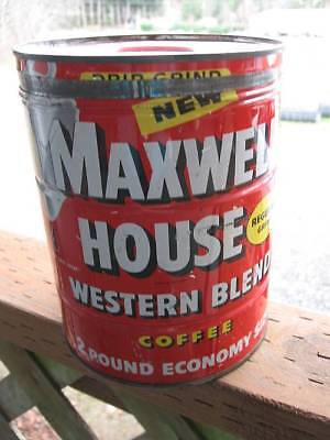 Vintage Maxwell House red 2 Pound Coffee Can Tin key wind w/ Lid~FREE SHIPPING