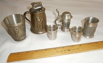 Vtg Lot of 6 Small Metal Steins, Cups, Shooters and Stein Table Lighter - Pewter
