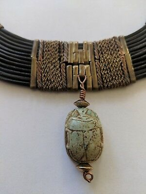 Vintage Ancient Egyptian Scarab Amulet Faience