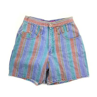Squeeze Vintage 90's Juniors Colorful Striped Jean High Waist Shorts Size 7/8