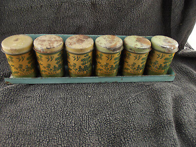 Vintage Set of Willow Tin Spice canisters  With original tray
