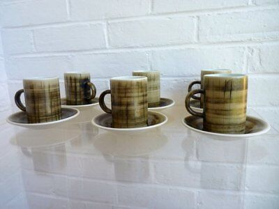 Vintage 1970's Cinque Ports Rye Monastery, England Stoneware Coffee Mugs Saucers
