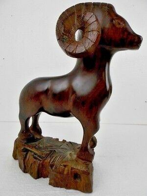 "Bighorn Sheep/Ram/Mountain Heavy Wood Carving Folkart Indigenous Art 12"" high"
