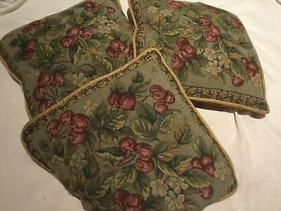 """Vintage 3 Tapestry cushions with duck feather interior used good condition 16"""""""