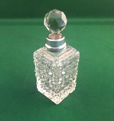 Antique Glass & Sterling Silver Collared Perfume Bottle
