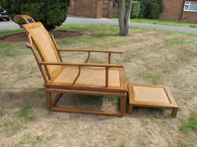 Elegant Antique Style Chinese Hardwood Moon Gazing Armchair / Chair & Footstool