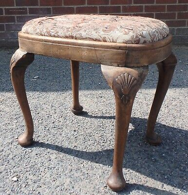 Victorian antique solid walnut upholstered Queen Anne shell carved foot stool