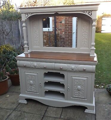 Antique French Shabby Chic Carved Painted Dresser / Sideboard