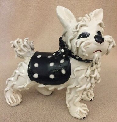 Vintage Polka Dot Spaghetti Dog Poodle Figure Handpainted in Italy