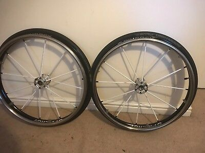 "24"" Spinergy LX 12 spoke  with Titanium hand rims &Marathon plus tyres"