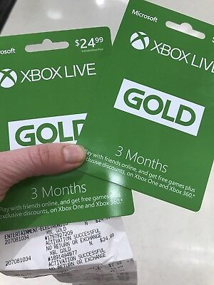 Microsoft Xbox Live Subscription 3 Month Gold Membership Cards