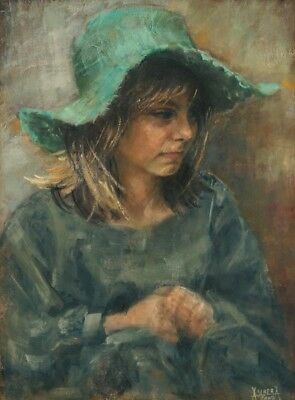 CHENPAT782  100% hand painted wear hat little girl  oil painting art on canvas