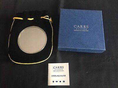 Carr's Solid Silver Compact Mirror Art Nouveau Design Complete With Carry Sack