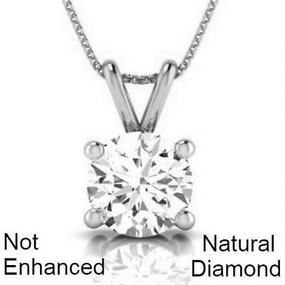 1 Ct D Si1 Real Natural Clarity Diamond Pendant Necklace 14K White Gold