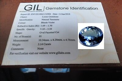 NATURAL OVAL VIOLET BLUE TANZANITE FLAWLESS GEMSTONE 10.3 x 8.2 mm + CERTIFICATE