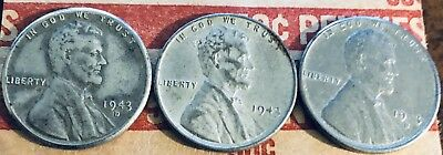 1943 PDS Steel Lincoln Pennies WWII Era , Almost Uncirculated