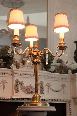 Antique French tall 3 arm electric ornate candlebra with crystals