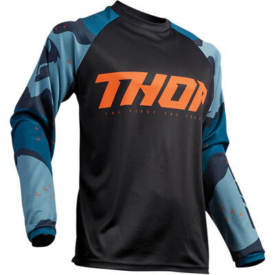 Thor Sector Camo Mens MX Offroad Jersey Blue