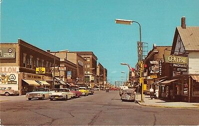 North Dakota postcard Grand Forks DeMers Avenue street scene