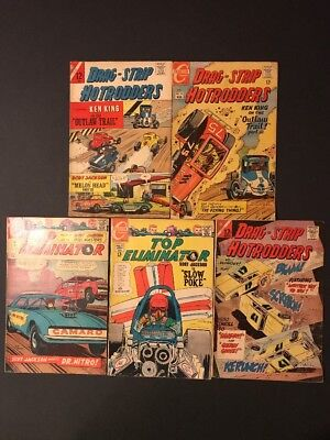 1960's Charlton Comics Top Eliminators 27,29 Drag Strip Hotrodders 8,15, 16!!!!