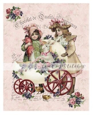 Vintage Easter~Girls~Rabbit~Roses~Violets~PRINT on FABRIC~Block~French Chic~779