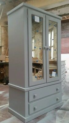 handmade dewsbury Grey Double mirror Wardrobe with crystal handles (Assembled)