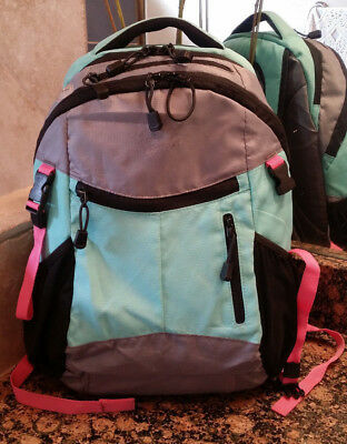 Pottery Barn Kids Backpack, Colton Gray Bright Pink/Turquoise Trim