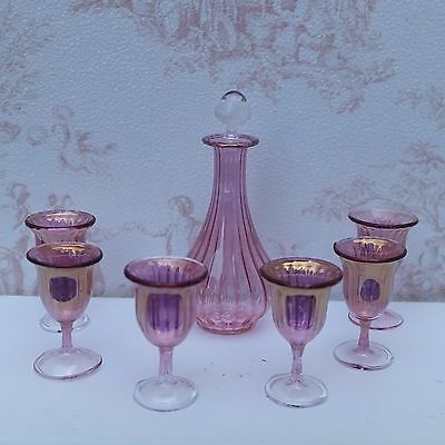 Dolls house miniatures: beautiful set of six cranberry glasses and decanter