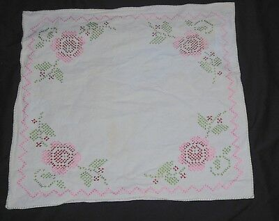 Vintage Cross Stitch Tablecloth Square Pink Green Floral Embroidered White Linen