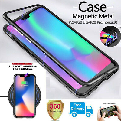 Magnetic Adsorption Metal Case Tempered Glass Cover For Huawei Mate 20 Pro Lite