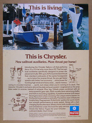 1976 Chrysler Sailor 6 & 10 Sailboat Auxiliary Outboards vintage print Ad