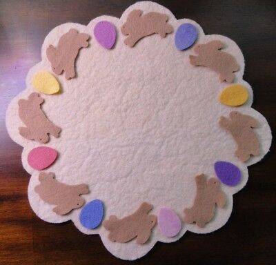 pRiMiTiVe Wool Felt Die Cut Shapes~Penny Rug~Easter Bunnies~Eggs~Pastel~Spring~