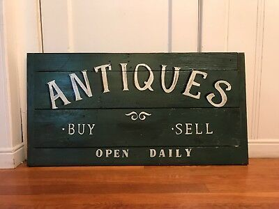 """Large Heavy Vintage Old Wood Recycled Sign Rustic Primitive Antiques Appx 32"""""""